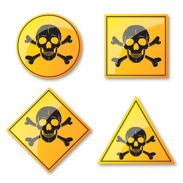 Schädel und gekreuzte knochen, warnschild. illustration. Premium Vektoren