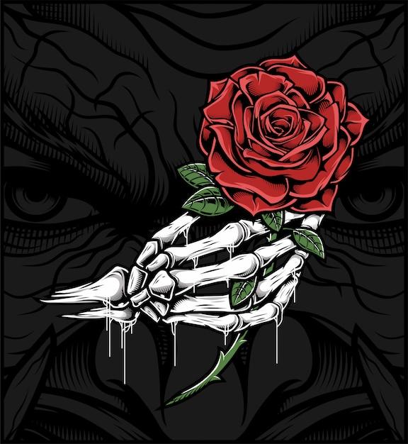 Schädelhand, die eine rose hält Premium Vektoren