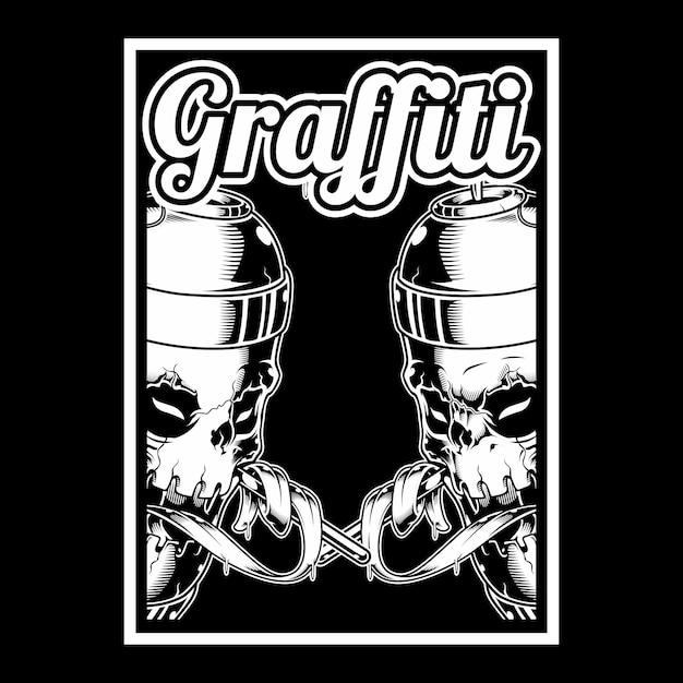 Schädelhand, die spayfarbengraffiti hält Premium Vektoren