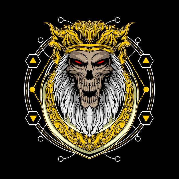 Schädelkönig mit heiliger geometrie Premium Vektoren