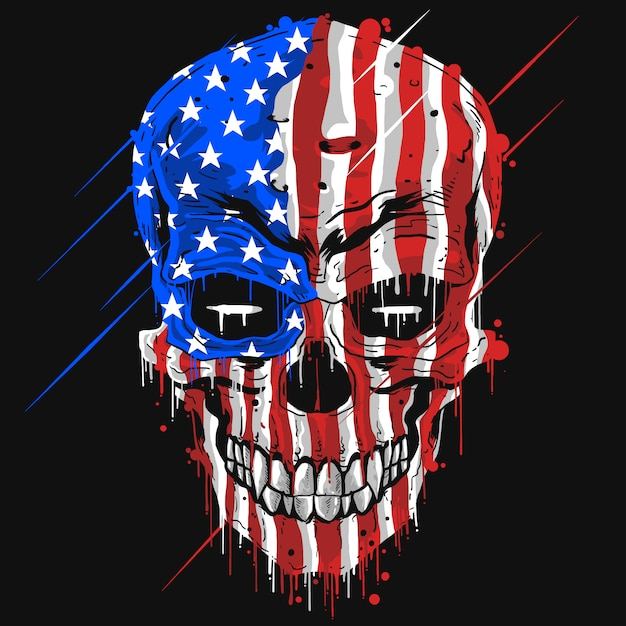 Schädelkopf mit usa-amerika-flaggenfarbe Premium Vektoren