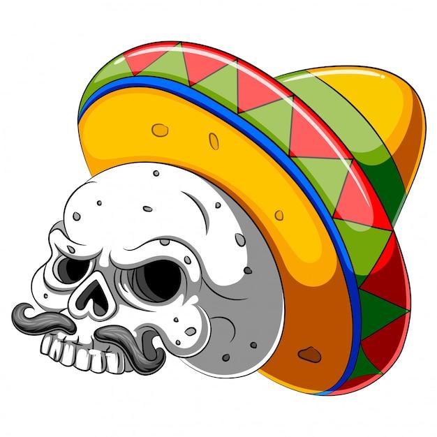 Schädelkopfkarikatur mit sombrero Premium Vektoren