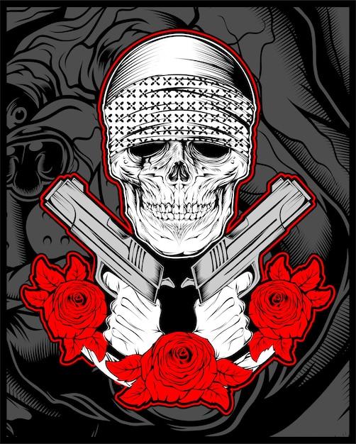 Schädelmafia, gengster, der bandana mit gewehr rosen trägt Premium Vektoren