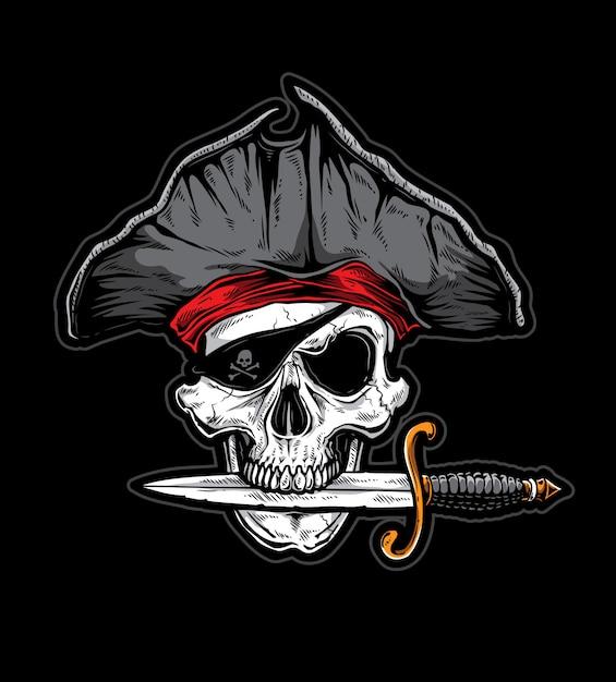 Schädelmesser-pirat Premium Vektoren