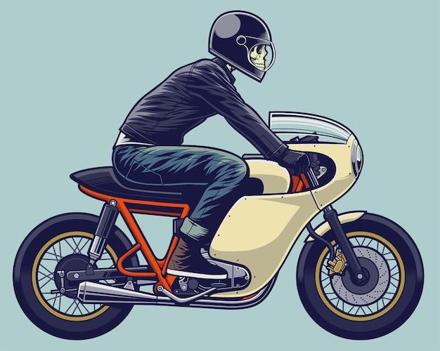 Schädelreiter-illustrationsskelett auf motorrad Premium Vektoren