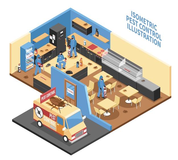 Schädlingsbekämpfung in der café-isometrischen illustration Kostenlosen Vektoren