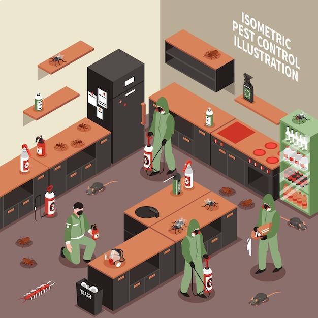 Schädlingsbekämpfungs-isometrische illustration Kostenlosen Vektoren