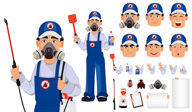 Schädlingsbekämpfungsarbeitskraft in der schützenden arbeitskleidung Premium Vektoren