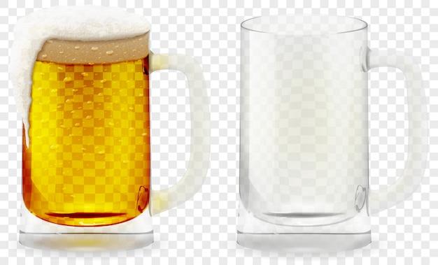 Schäumendes bierglas realistisches 3d. Premium Vektoren