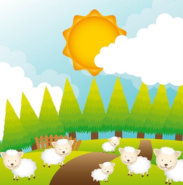 Schafe auf feld design Premium Vektoren