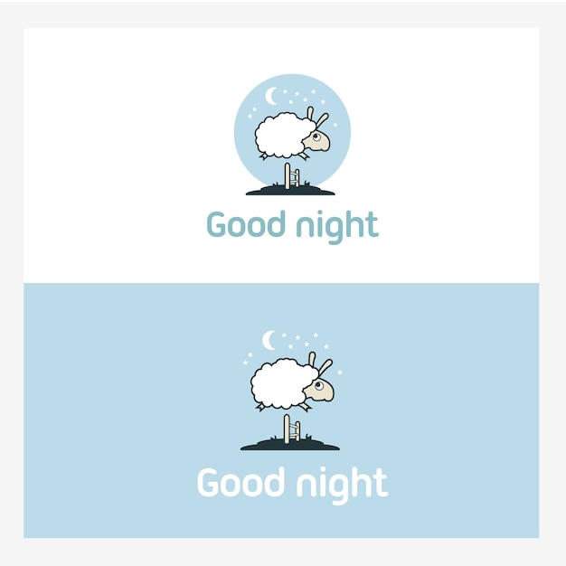 Schafe, die über den zaun springen. logo-elemente-konzept. Premium Vektoren