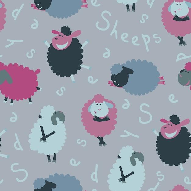 Schafe nahtlose muster Kostenlosen Vektoren