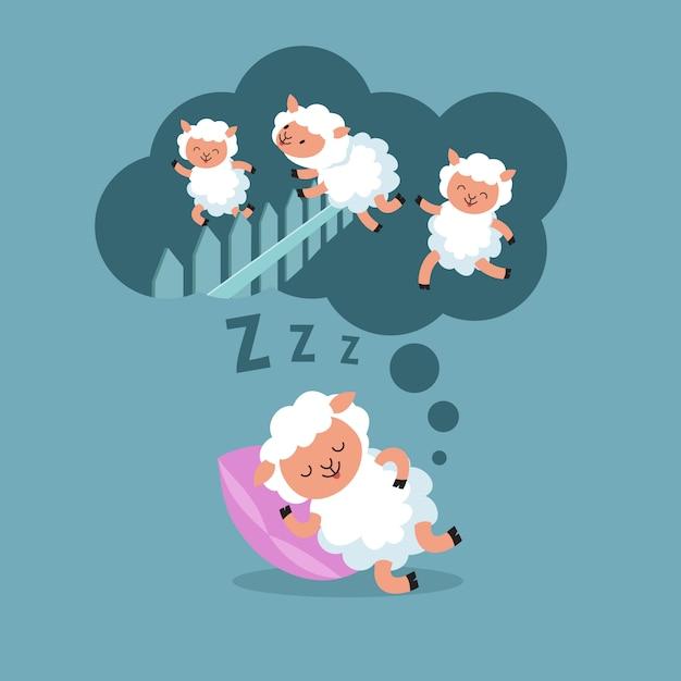 Schafe zählen, um nachts zu schlafen. springendes lamm zur glücklichen traumkarikatur-vektorillustration Premium Vektoren