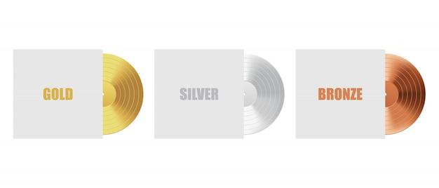 Schallplatte aus gold, silber und bronze mit cover Premium Vektoren