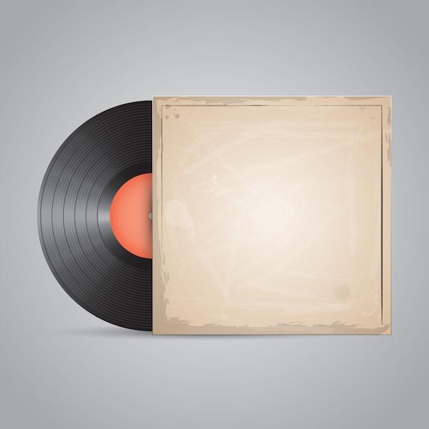 Schallplatte, cd. realistisches verpackungsdesign. Premium Vektoren
