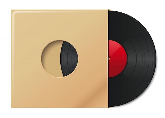 Schallplatte im umschlag mit platz für ihren text. platte in vintage-papierverpackung. vinyl-disc-abdeckung. illustration Premium Vektoren