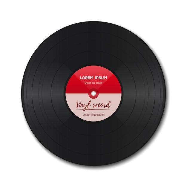 Schallplatte mit rotem etikett. vinyl isoliert auf weiß. alte technik. realistisches retro-design. Premium Vektoren