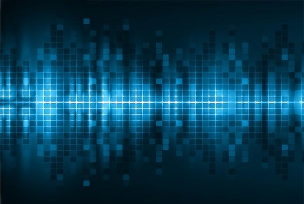 Schallwellen, die dunkelblauen hellen hintergrund oszillieren Premium Vektoren