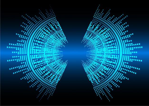 Schallwellen, die dunkelblaues licht oszillieren Premium Vektoren