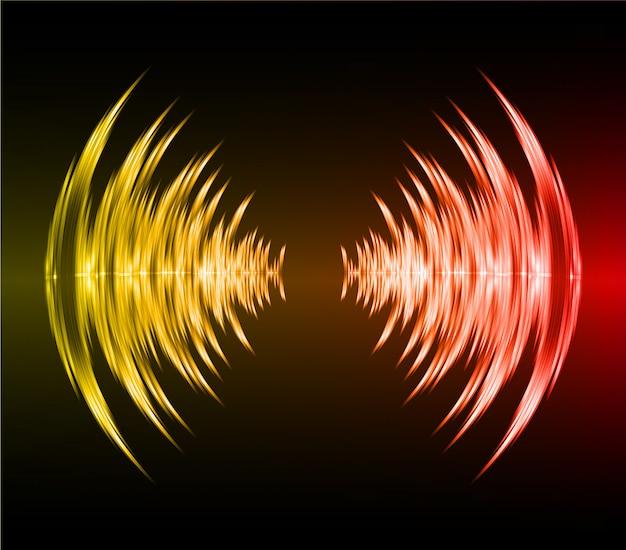 Schallwellen, die dunkelrotes gelbes licht oszillieren Premium Vektoren