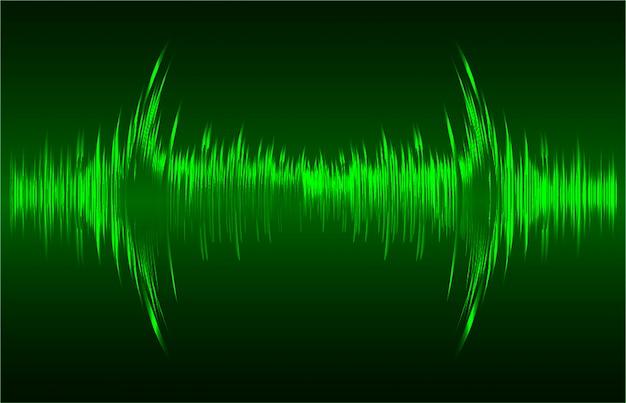 Schallwellen, die hintergrund des dunkelgrünen lichtes oszillieren Premium Vektoren