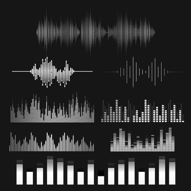 Schallwellen-equalizer-vektordesignsatz Kostenlosen Vektoren