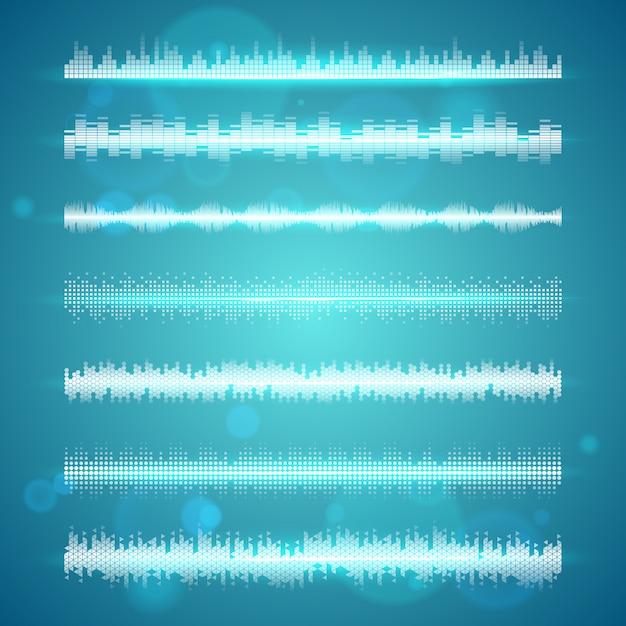 Schallwellen zeigen horizontale linien an Kostenlosen Vektoren