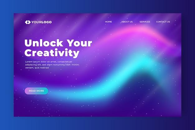 Schalte deine nordlicht-landingpage für kreativität frei Kostenlosen Vektoren