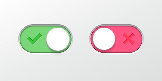 Schalten sie die schaltflächenschalter-schieberegler-web-ui-symbole um Premium Vektoren