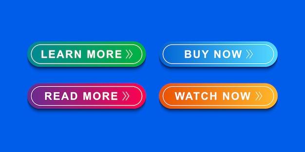Schaltflächen-symbol für website, symbol vorlage und benutzeroberfläche festgelegt Premium Vektoren