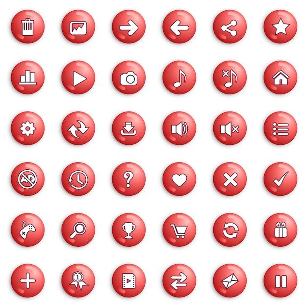 Schaltflächen- und symbolsatzdesign für spiel- oder webfarbe rot. Premium Vektoren