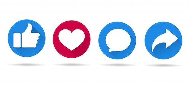 Schaltflächensymbole wie auf social-media-sites in einem langen schatten, der einfach aussieht. Premium Vektoren