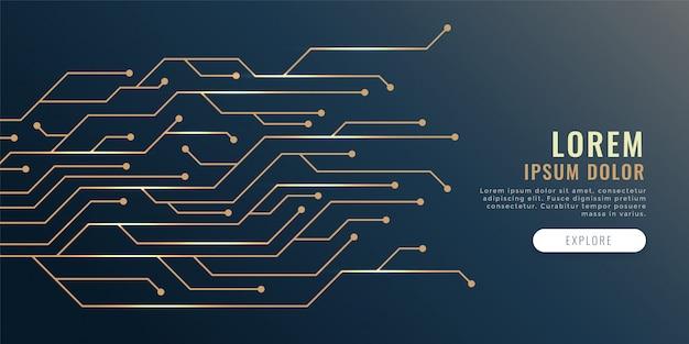 Schaltkreislinien diagramm technologie banner Kostenlosen Vektoren