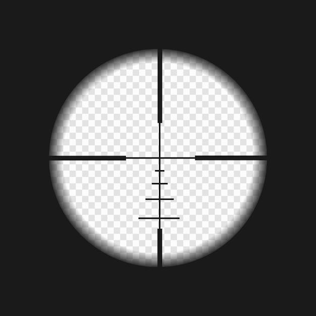 Scharfschützenvisier mit messmarken. zielfernrohrschablone auf transparentem hintergrund Premium Vektoren