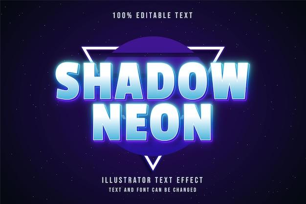 Schatten neon, 3d bearbeitbarer texteffekt blaue abstufung lila neon textstil Premium Vektoren
