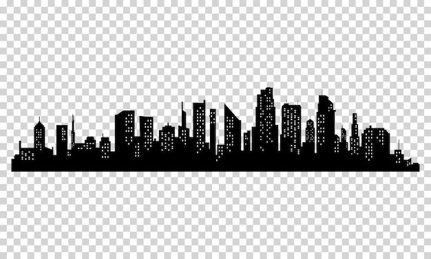 Schattenbild der stadt mit schwarzer farbe Premium Vektoren