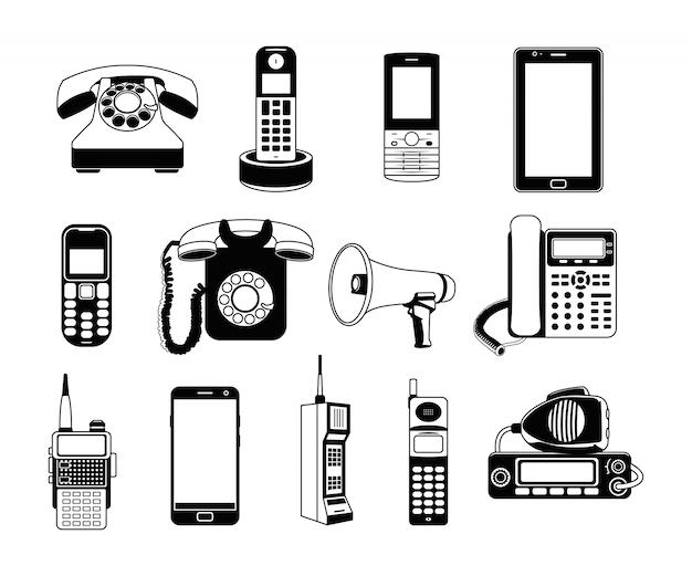 Schattenbild der telefone und der smartphones. Premium Vektoren