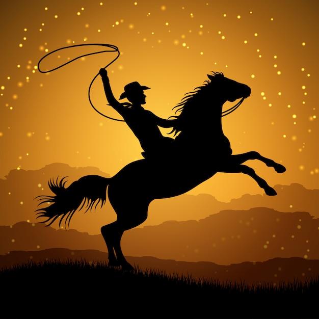 Schattenbild des cowboys mit lasso auf dem aufziehen des pferds Premium Vektoren
