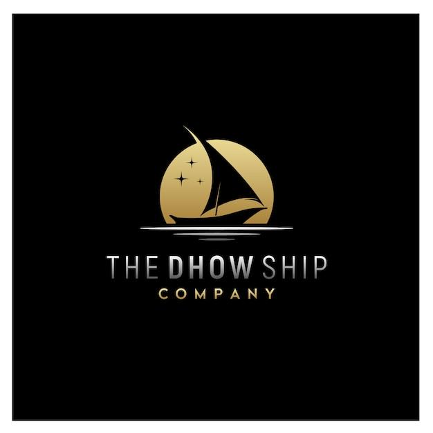 Schattenbild des dhow-traditionellen segelbootlogos Premium Vektoren