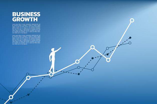 Schattenbild des geschäftsmannpunktes zum höheren des diagramms. Premium Vektoren