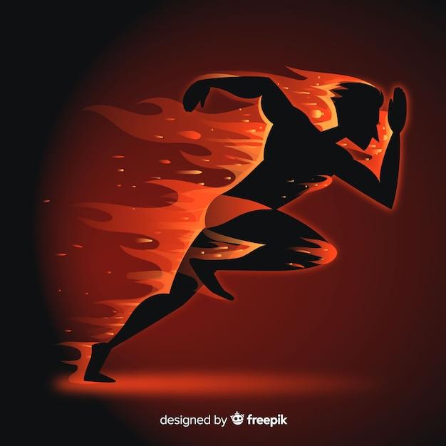 Schattenbild des läufers in den flammen Kostenlosen Vektoren