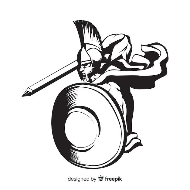 Schattenbild des spartanischen kriegers mit klinge Kostenlosen Vektoren