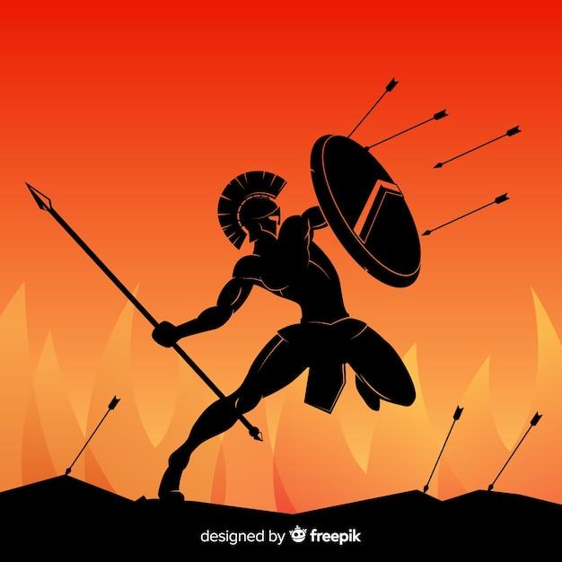 Schattenbild des spartanischen kriegers mit speer Kostenlosen Vektoren