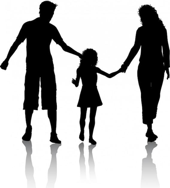 Schattenbild einer familie, die geht Kostenlosen Vektoren