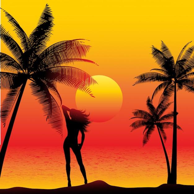 Schattenbild einer frau auf einem sonnenuntergangstrand mit palmen Kostenlosen Vektoren
