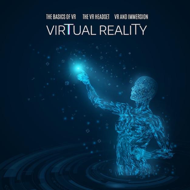 Schattenbild einer frau, die einen virtuellen gegenstand in einem virtuellen badekurort berührt Premium Vektoren