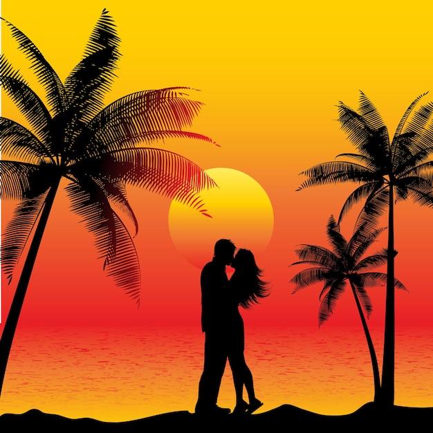 Schattenbild eines paares, das an einem strand bei sonnenuntergang küsst Kostenlosen Vektoren