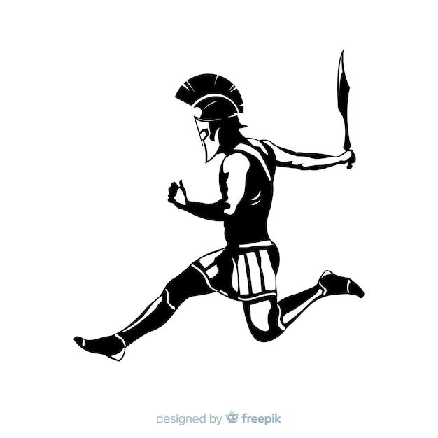 Schattenbild eines spartanischen kriegers Kostenlosen Vektoren