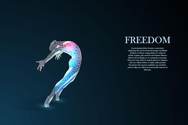 Schattenbild eines springenden mannes. freiheitskonzept. Premium Vektoren