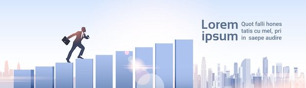 Schattenbild-geschäftsmann climb financial bar graph-geschäftsmann-wachstum Premium Vektoren